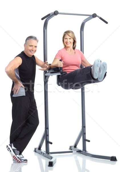 спортзал фитнес улыбаясь пожилого пару Сток-фото © Kurhan