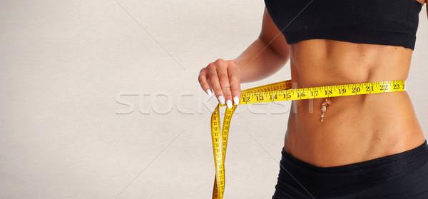 Abdomen cinta métrica vientre dieta Foto stock © Kurhan