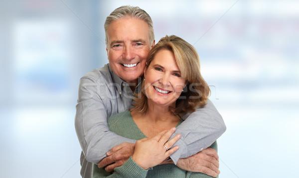 Idős pár mosolyog boldog idős pár absztrakt Stock fotó © Kurhan