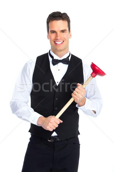 plumber with a plunger Stock photo © Kurhan