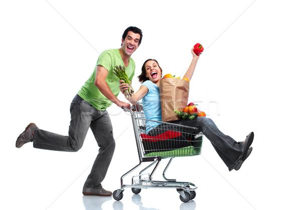 Stockfoto: Winkelen · paar · gelukkig · winkelwagen · geïsoleerd · witte