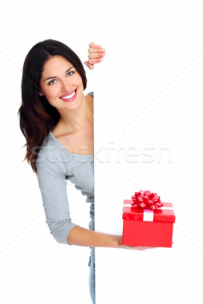 Belle jeunes Noël fille présents isolé Photo stock © Kurhan
