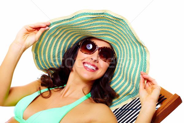 Mujer gafas de sol sombrero vacaciones de verano sonrisa Foto stock © Kurhan