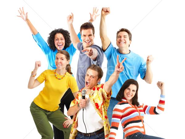 Fiatal boldog emberek izolált fehér gyerekek arc Stock fotó © Kurhan