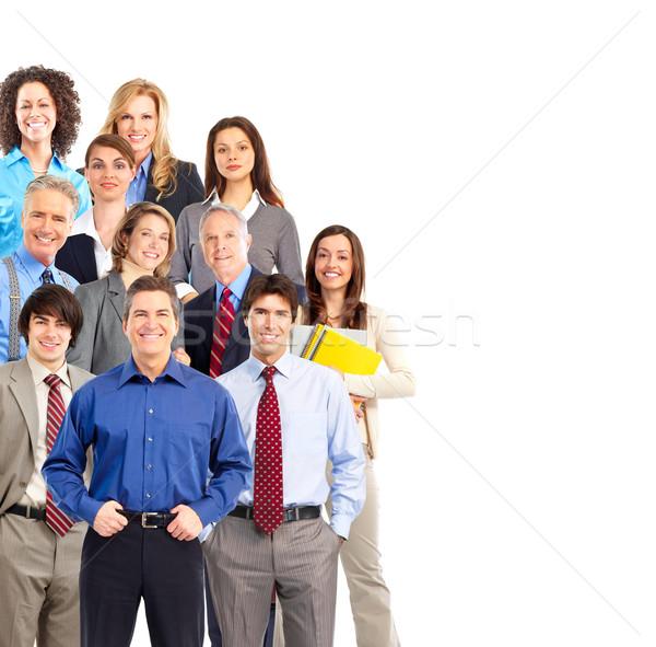 Foto d'archivio: Uomini · d'affari · gruppo · isolato · bianco · donna · sorriso