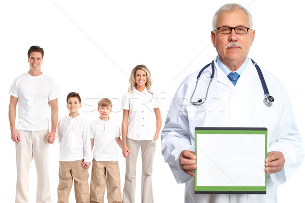 Foto stock: Médico · família · médico · isolado · branco · mulher