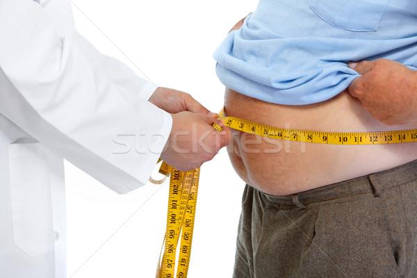 Arzt fettleibig Mann Magen Taille Stock foto © Kurhan