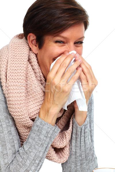 Vrouw weefsel griep gezondheidszorg hand gezondheid Stockfoto © Kurhan