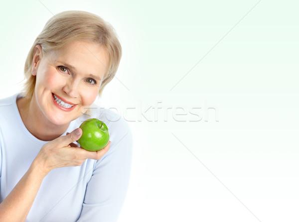 Stockfoto: Vrouw · appel · volwassen · glimlachende · vrouw · groene · voedsel