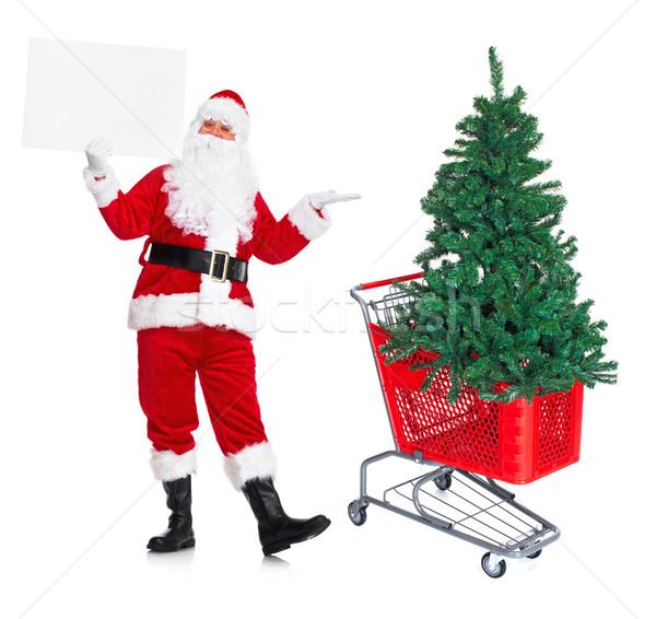 Stockfoto: Kerstman · winkelwagen · kerstboom · gelukkig · traditioneel · geïsoleerd