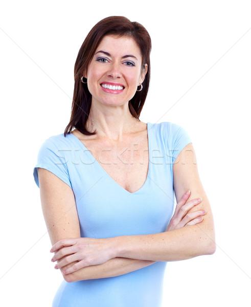 Foto stock: Feliz · mujer · jóvenes · mujer · hermosa · aislado · blanco