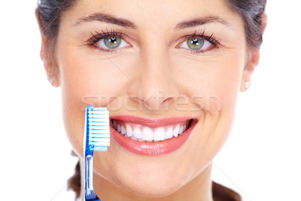 Boldog nő fogkefe fogápolás izolált fehér Stock fotó © Kurhan