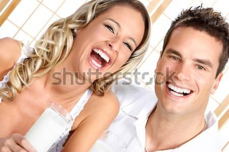 Szeretet fiatal pár mosolyog fehér nő Stock fotó © Kurhan