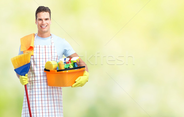 Housekeeping service man. Stock photo © Kurhan