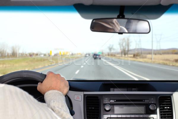 Foto d'archivio: Mano · uomo · guida · autostrada · driver · assicurazione