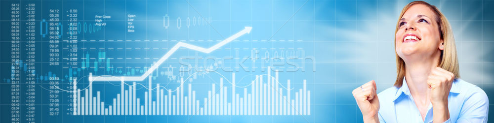 Happy investor girl. Stock photo © Kurhan
