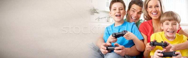 家族 演奏 ビデオゲーム 幸せな家族 子供 を ストックフォト © Kurhan