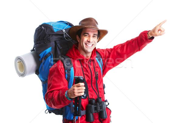 Foto stock: Turísticos · senderismo · caminante · hombre · aislado · blanco