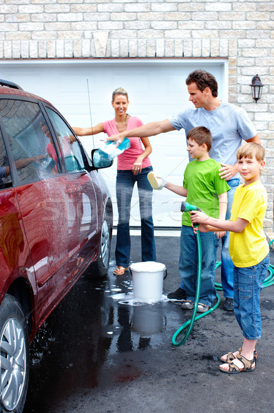 Happy family washing the family car. Stock photo © Kurhan