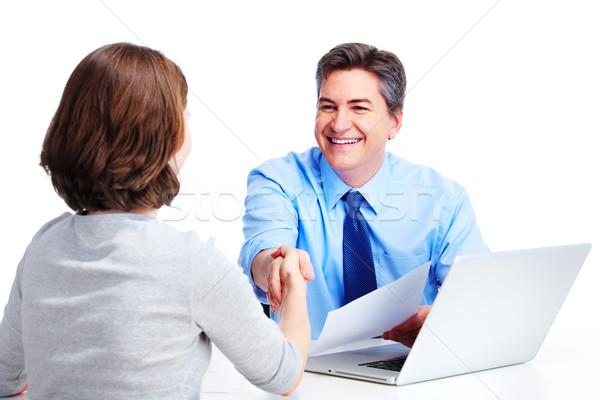 Stock fotó: Igazgató · üzletember · izolált · fehér · iroda · laptop