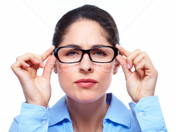 Stockfoto: Zakenvrouw · bril · geïsoleerd · witte · gezondheid · achtergrond