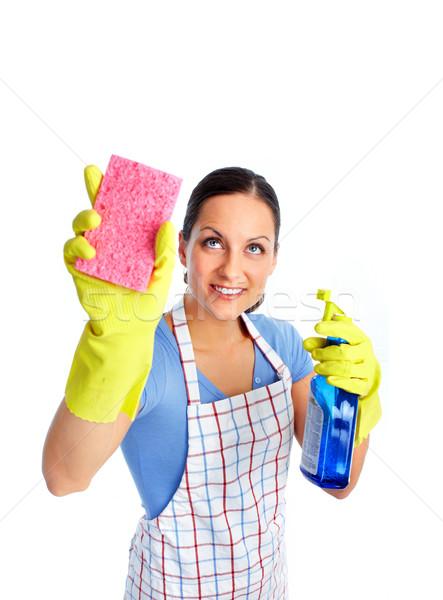 Meid vrouw spons spray huis schoonmaken Stockfoto © Kurhan