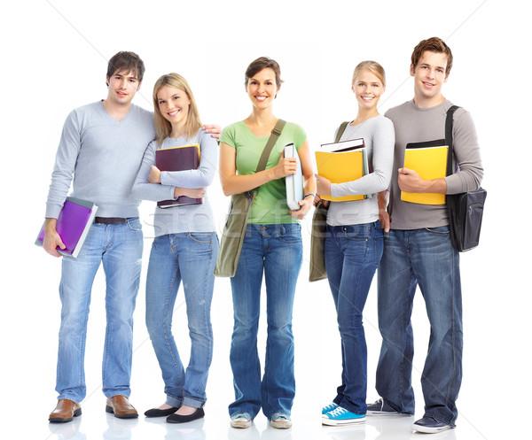 Diákok nagyobb csoport mosolyog izolált fehér iskola Stock fotó © Kurhan