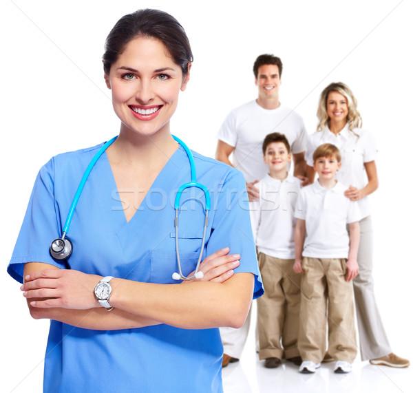 Stockfoto: Familie · arts · vrouw · geïsoleerd · witte · kinderen