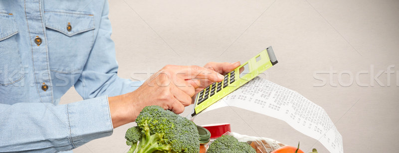 Woman hands with grocery receipt and calculator. Stock photo © Kurhan