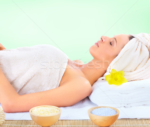 Stok fotoğraf: Spa · masaj · güzel · genç · kadın · kadın · çiçek