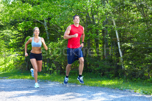 Jogging couple parc santé fitness Photo stock © Kurhan