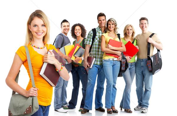 Student jonge glimlachend studenten vrouw witte Stockfoto © Kurhan