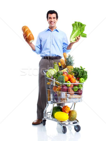 Boldog férfi bevásárlókocsi jóképű férfi izolált fehér Stock fotó © Kurhan