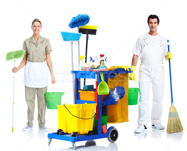 Cleaner man and woman. Stock photo © Kurhan