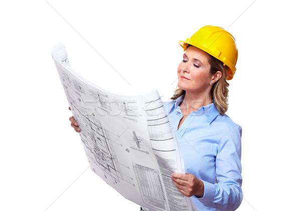 Architect woman with a plan. Stock photo © Kurhan