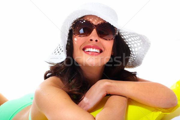 Mulher óculos de sol seis férias de verão sorrir Foto stock © Kurhan