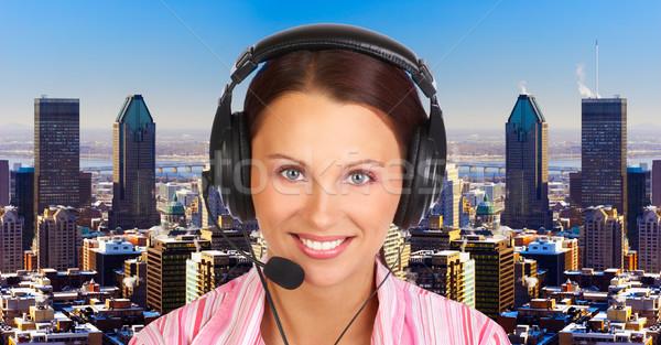 Сток-фото: Call · Center · оператор · деловой · женщины · гарнитура · женщину · город