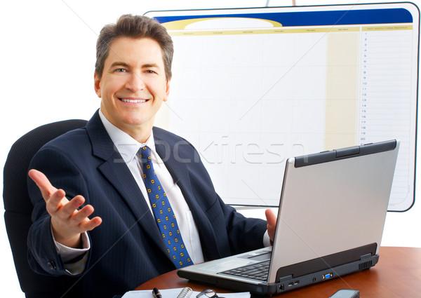Barátságos üzletember mosolyog izolált fehér boldog Stock fotó © Kurhan