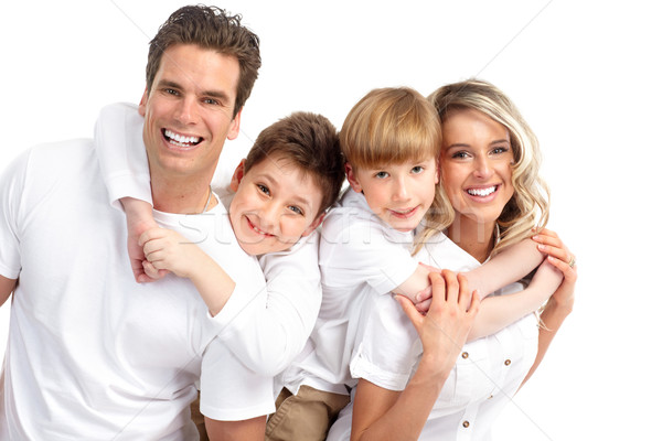 Stockfoto: Gelukkig · gezin · vader · moeder · kinderen · man · gelukkig