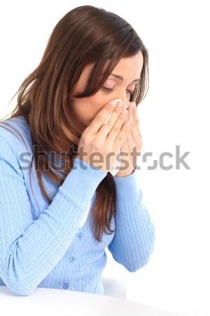 Gripe alergia mulher jovem isolado branco médico Foto stock © Kurhan