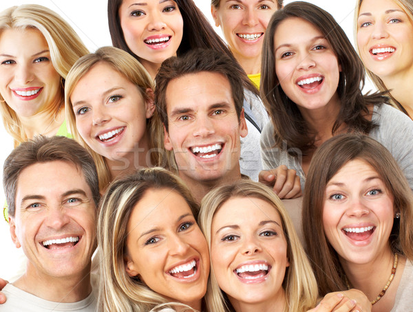 Gelukkige mensen gelukkig grappig mensen geïsoleerd witte Stockfoto © Kurhan