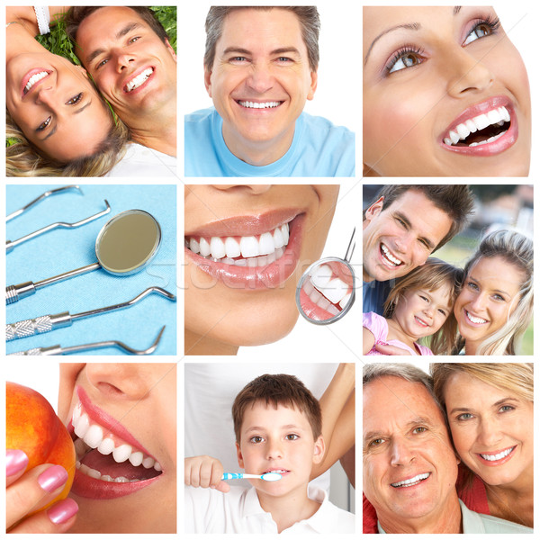 Fogfehérítés fog fogápolás család egészség ajkak Stock fotó © Kurhan