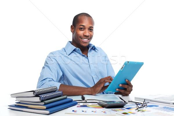 Siyah adam çalışma ofis muhasebe el Stok fotoğraf © Kurhan