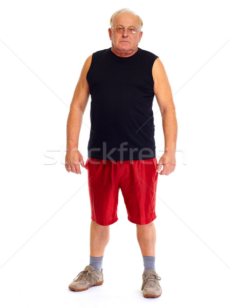 Senior man isolated white background. Stock photo © Kurhan