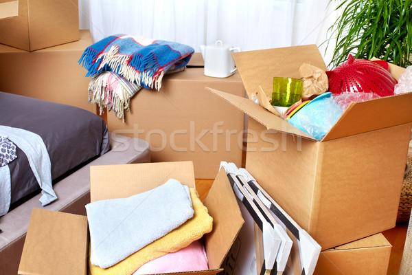 Költözködő dobozok új ház új lakás ingatlan ház Stock fotó © Kurhan