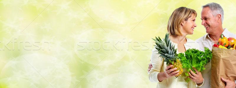 Foto stock: Casal · de · idosos · legumes · verde · dieta · saudável · mulher · comida