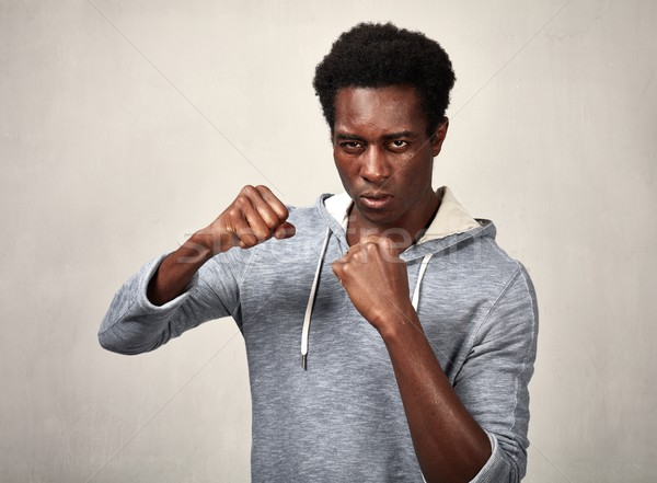 Agresif siyah adam öfkeli şiddetli adam Stok fotoğraf © Kurhan