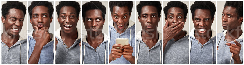 Siyah adam yüz ayarlamak genç kolaj Stok fotoğraf © Kurhan
