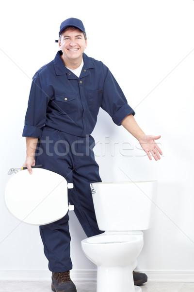 配管 成熟した トイレ 作業 ワーカー ストックフォト © Kurhan