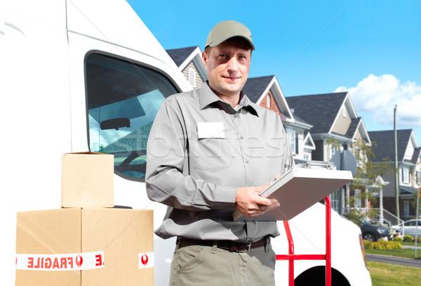 Photo stock: Livraison · service · postal · homme · heureux · professionnels · expédition